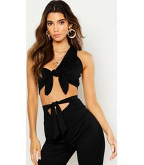 asymetric knot front crop top, black