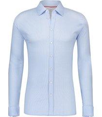 desoto heren overhemd jersey modern kent licht stip slim fit