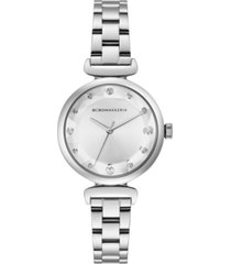 bcbgmaxazria ladies silver stainless steel bracelet with facet dial, 32mm