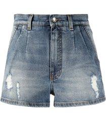 dolce & gabbana denim distressed shorts - blue