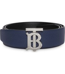 burberry reversible monogram motif leather belt - blue