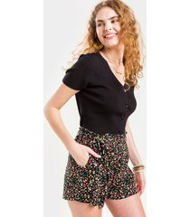 morgan floral shorts - black