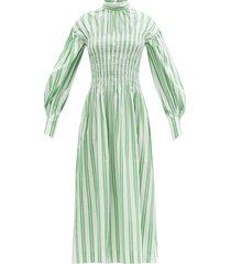 smocked-bodice striped cotton-poplin midi dress