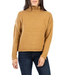 women's kut from the kloth hailee turtleneck sweater, size large - brown