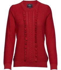 pullover ruffle stickad tröja röd park lane