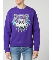 kenzo men's classic tiger sweatshirt - plum blue - xxl