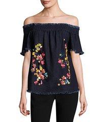 carmen embroidered denim cotton top