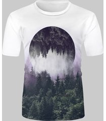 reflected forest landscape graphic casual short sleeve t shirt
