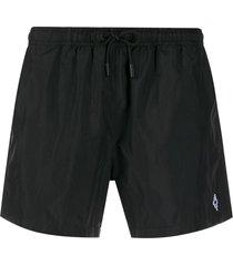 marcelo burlon county of milan logo-embroidered swim shorts - black