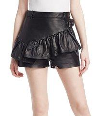 leather ruffle shorts