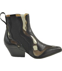 sergio rossi black leather and pvc cow-boy booties