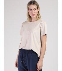 blusa feminina ampla em suede manga curta decote redondo bege claro