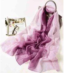 lyza donna vintage sciarpa in seta in ricamo in gradiente di colore comoda delicata sulla pelle