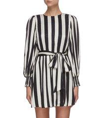 'estefana' tie waist long sleeve stripe mini dress