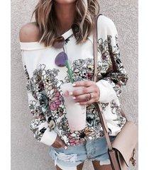 camicetta casual da donna a maniche lunghe con stampa floreale