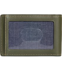 nordstrom wyatt leather card case with money clip in green ivy at nordstrom