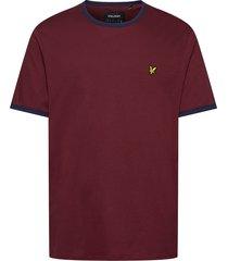 ringer t-shirt t-shirts short-sleeved röd lyle & scott