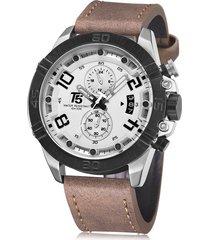 reloj de hombre t5 pulso cuero h3637g-b - café/blanco