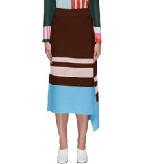 asymmetric side flap contrast panel knit skirt