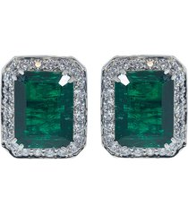 antique asscher cut emerald earrings