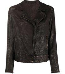 salvatore santoro embossed style side zipped jacket - brown