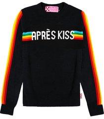 mc2 saint barth black woman sweater après kiss front graphic with rainbow details