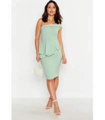 bardot waist peplum midi dress, sage