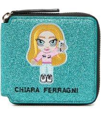 chiara ferragni embroidered patch detail purse - blue