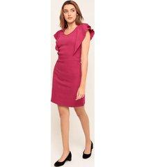 vestido corto  con vuelo en mangas rojo 6