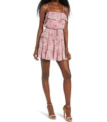 women's row a sleeveless tiered popover minidress, size small - pink