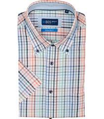 bos bright blue frank overhemd korte mouw rf 21107fr45bo/500 multicolour
