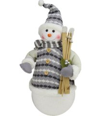 "northlight 20"" alpine chic snowman with gray and white jacket christmas decoration"