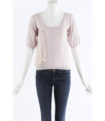 chloe pink cashmere knit top pink sz: s