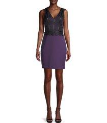 guess women's lace bodycon dress - purple black - size 4