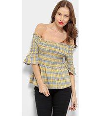 blusa xadrez top moda ombro a ombro feminina