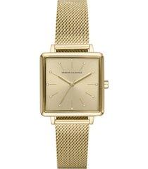 ax armani exchange women's lola gold-tone stainless steel mesh bracelet watch 30mm