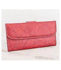 leather wallet, 'crimson credit' (nicaragua)