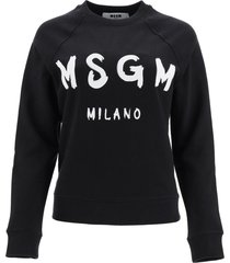 msgm sweatshirt logo brush print
