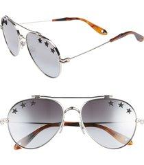 women's givenchy star detail 58mm mirrored aviator sunglasses - palladium/ grey azure