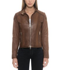 forzieri designer leather jackets, brown padded leather women's zip front jacket