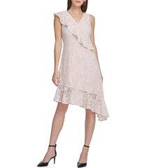 donna karan women's asymmetric lace midi dress - pale pink - size 12