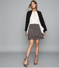 reiss lulu - printed flippy skirt in berry, womens, size 10