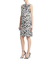 graphic leopard print douchesse dress