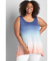 lane bryant women's sleeveless dip-dye high-low top 38/40 multi color dip dye