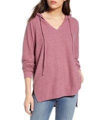 women's treasure & bond cozy v-neck hooded tunic top, size x-small - burgundy