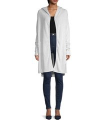 theo & spence women's hooded duster jacket - heather grey - size m