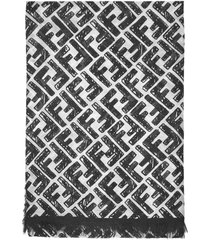 fendi ff logo modal and cashmere scarf