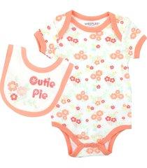 wee play peach floral cutie pie infant girl's romper & bib set, newborn sizes