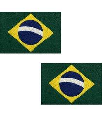 2 tapete capacho emborrachado 60x40cm brasil - verde - feminino - dafiti