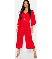 kimono sleeve culotte jumpsuit, red